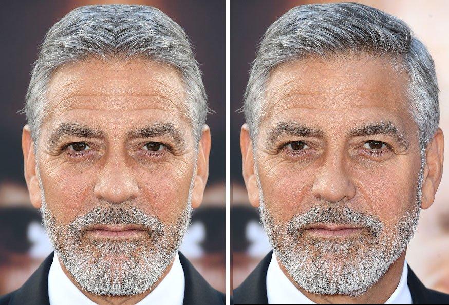 Visage de Georges Clooney si il possédait un visage parfaitement symétrique